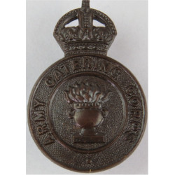 Army Catering Corps  with King's Crown. Bronze Officers' metal cap badge