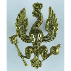 14th/20th King's Hussars FR On Eagle's Breast  Brass Officers' metal cap badge