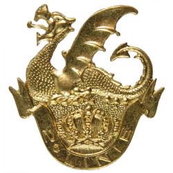 Belgian 2nd Line Regiment - 2e Linie Beret Badge  Gilt Officers' metal cap badge