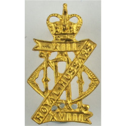 13th/18th Royal Hussars (Queen Mary's Own)  with Queen Elizabeth's Crown. Gilt Officers' metal cap badge