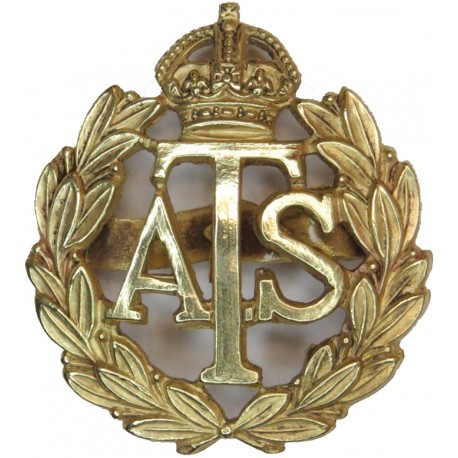 Auxiliary Territorial Service 1938-1949 with King's Crown. Gilt Officers' metal cap badge
