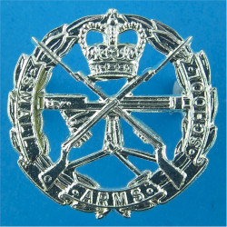 Small Arms School Corps Beret Size with Queen Elizabeth's Crown. Silver-plated Officers' metal cap badge