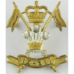 9th/12th Royal Lancers (Prince Of Wales's)  with Queen Elizabeth's Crown. Silver-plate and gilt Officers' metal cap badge