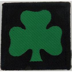 Royal Irish Regiment: 1st Bn (Shamrock/Black Square) Helmet Flash  Woven Other Ranks' cap badge