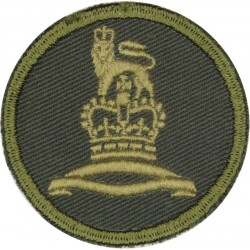 Canadian Provost Corps Green Bush Hat Badge with Queen Elizabeth's Crown. Embroidered Other Ranks' cap badge