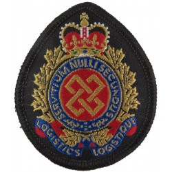 Canadian Armed Forces Logistics Branch Colour Beret Badge with Queen Elizabeth's Crown. Woven Other Ranks' cap badge