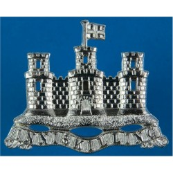 Royal Inniskilling Fusiliers Pipers Caubeen Badge one-piece pattern  Silver-plated Other Ranks' metal cap badge
