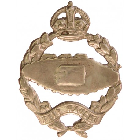 Royal Tank Regiment rubbed with King's Crown. White Metal Other Ranks' metal cap badge