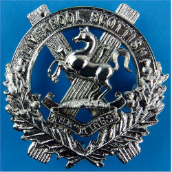 V (Liverpool Scottish) Coy, 5th/8th Bn King's Regt 3 Lugs On Rear  White Metal Other Ranks' metal cap badge