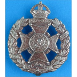8th City Of London Battalion (Post Office Rifles)  with King's Crown. White Metal Other Ranks' metal cap badge