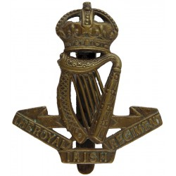 Royal Irish Regiment 1902-1922 with King's Crown. Brass Other Ranks' metal cap badge