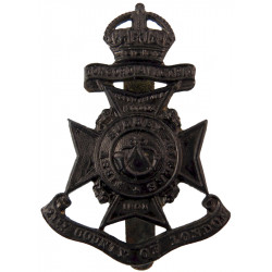 21st County Of London Regiment (First Surrey Rifles)  with King's Crown. Blackened Other Ranks' metal cap badge