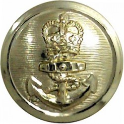 Royal Navy - Ratings (Plain Rim) 29.5mm - Gold Colour with Queen Elizabeth's Crown. Anodised Staybrite military uniform button