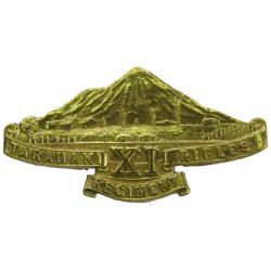 11th (Taranaki Rifles) Regiment (New Zealand) Pre-1948  Brass Other Ranks' metal cap badge