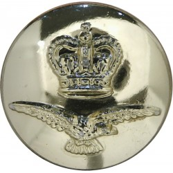 Royal Air Force - Older Flat Pattern 23.5mm - Gold Colour with Queen Elizabeth's Crown. Anodised Staybrite military uniform butt