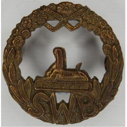 South Wales Borderers Small: 30mm Diameter  All Brass Other Ranks' metal cap badge