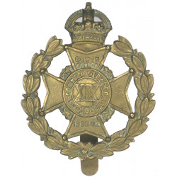 19th County Of London Battalion (St Pancras)  with King's Crown. Brass Other Ranks' metal cap badge