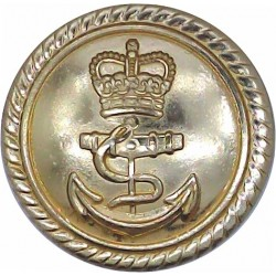 Royal Navy - Officers (Roped Rim) 23.5mm - Gold Colour with Queen Elizabeth's Crown. Anodised Staybrite military uniform button
