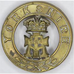 Alexandra Princess Of Wales Own (Yorkshire Regiment) Helmet Plate Centre  Brass Other Ranks' metal cap badge