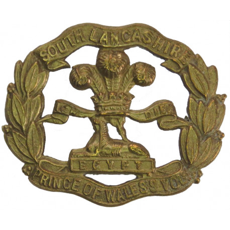 South Lancashire Regiment (Prince Of Wales's Vols) WW1 Economy Issue  All Brass Other Ranks' metal cap badge