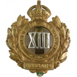 13th Hussars Wreath Pattern with King's Crown. Bi-metallic Other Ranks' metal cap badge