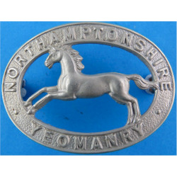 2nd Northamptonshire Yeomanry - WW2 Only (Oval) Sealed 20 Mar 1940  White Metal Other Ranks' metal cap badge