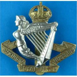 8th King's Royal Irish Hussars  with King's Crown. Bi-metallic Other Ranks' metal cap badge