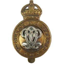 7th Queen's Own Hussars  with King's Crown. Bi-metallic Other Ranks' metal cap badge