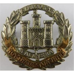 Northamptonshire Regiment - With Flag Pre-1900  Bi-metallic Other Ranks' metal cap badge