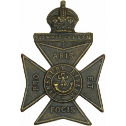 11th London Regiment (Finsbury Rifles) Blackened with King's Crown. Brass Other Ranks' metal cap badge