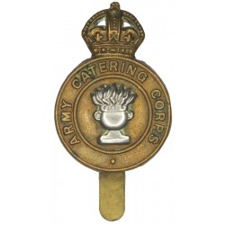 Army Catering Corps 2nd Pattern Post-WW2 with King's Crown. Bi-metallic Other Ranks' metal cap badge
