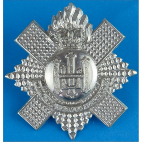 Royal Highland Fusiliers Pipers with Queen Elizabeth's Crown. White Metal Other Ranks' metal cap badge