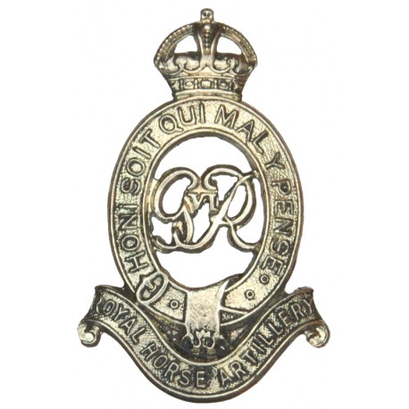 Royal Horse Artillery - Cypher GviR with King's Crown. White Metal Other Ranks' metal cap badge