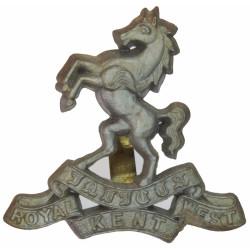 Queen's Own Royal West Kent Regiment Silver Colour  Plastic Bakelite plastic cap badge