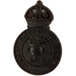 Army Catering Corps Brown Colour with King's Crown. Plastic Bakelite plastic cap badge