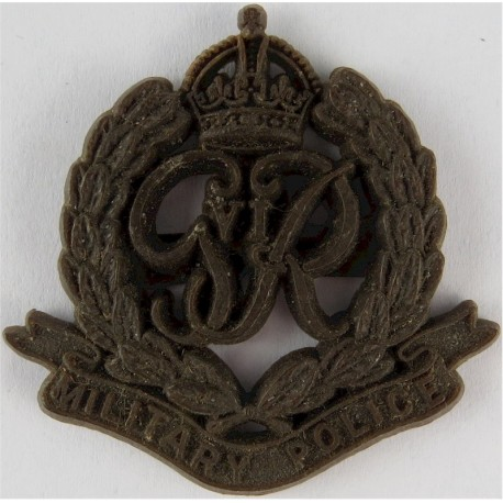 Corps Of Military Police Brown Colour with King's Crown. Plastic Bakelite plastic cap badge