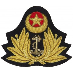 Pakistan Navy - Officers   Bullion wire-embroidered Naval cap badge or cap tally
