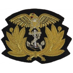Republic Of Colombia Navy Officer's Cap Badge South America  Bullion wire-embroidered Naval cap badge or cap tally