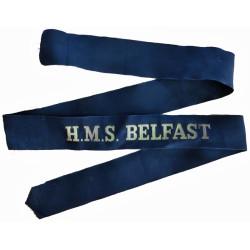 HMS Belfast (Town-Class Light Cruiser) Cap-Tally 1939-1963  Woven Naval cap badge or cap tally