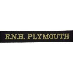 RNH Plymouth (Royal Naval Hospital) Cap-Tally - Pre-1995  Woven Naval cap badge or cap tally