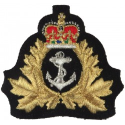 Royal Canadian Navy - Officers & CPO 1 Full Size with Queen Elizabeth's Crown. Lurex Naval cap badge or cap tally