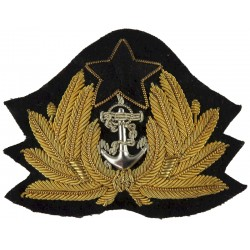 Ghana Navy Officer  Bullion wire-embroidered Naval cap badge or cap tally