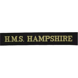 HMS Hampshire (County Class Guided Missile Destroyer Cap-Tally 1963-1979  Woven Naval cap badge or cap tally