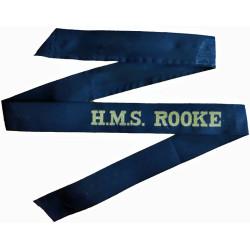 HMS Rooke (Gibraltar Naval Base) Cap-Tally 1946-1990  Woven Naval cap badge or cap tally