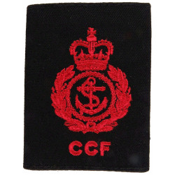 CCF Royal Navy Chief Petty Officer Rank Slide Red On Black with Queen Elizabeth's Crown. Embroidered Naval Branch, rank or misce