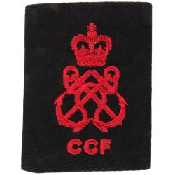 CCF Royal Navy Petty Officer Rank Slide Red On Black with Queen Elizabeth's Crown. Embroidered Naval Branch, rank or miscellaneo