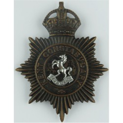 Essex Police Cap Badge with Queen Elizabeth's Crown. Chrome and enamelled Police or Prisons hat badge