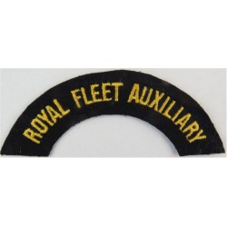 Royal Fleet Auxiliary - Curved Shoulder Title Yellow On Black  Embroidered Naval Branch, rank or miscellaneous insignia