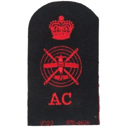 Aircraft Controller Plane & Helicopter + Crown + AC Trade - Red On Navy with Queen Elizabeth's Crown. Embroidered Naval Branch,