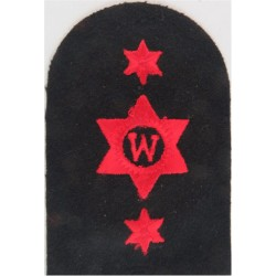Writer (W In 6-Pointed Star) + 2 Stars Trade - Red On Navy  Embroidered Naval Branch, rank or miscellaneous insignia